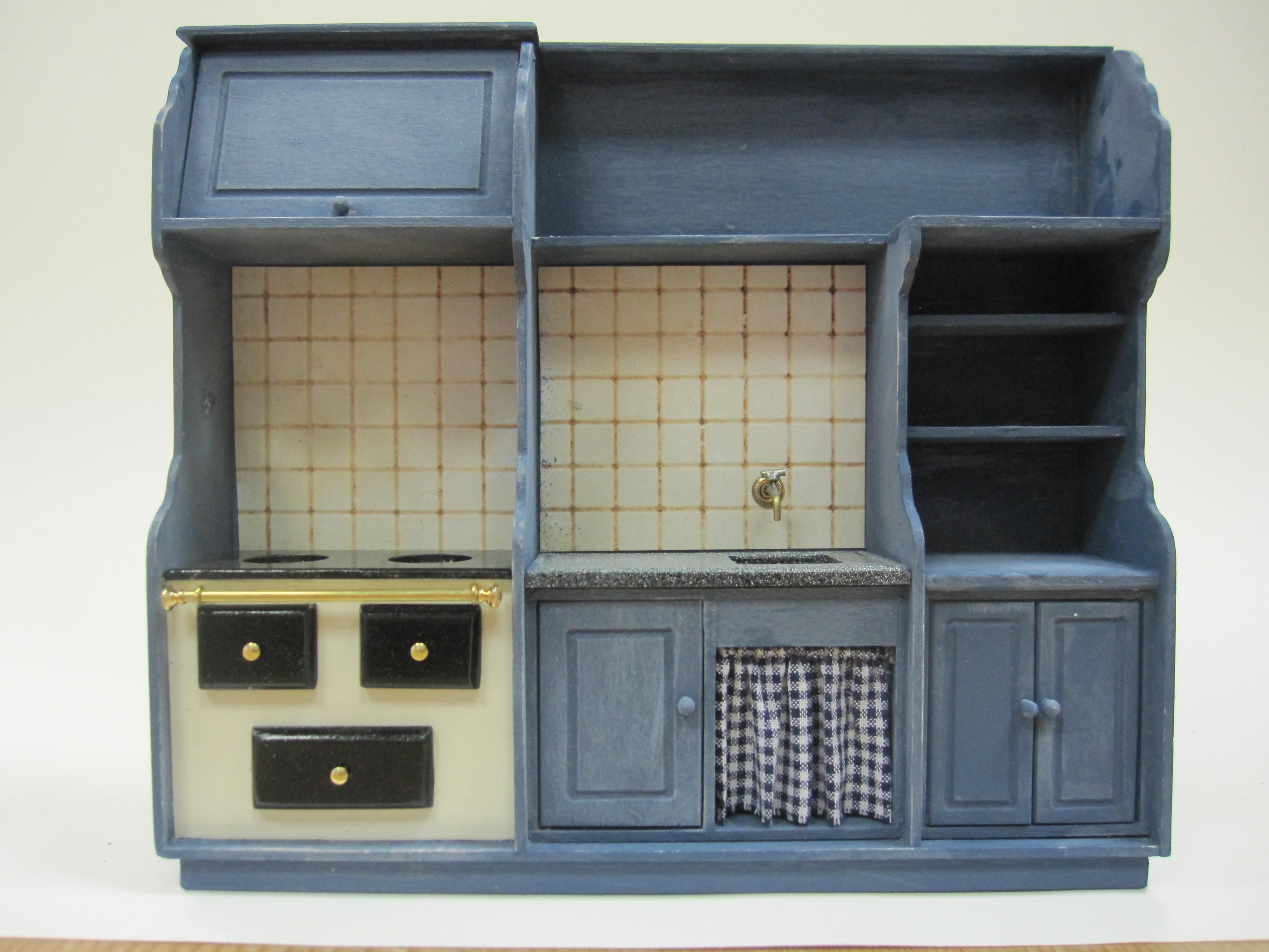 Keukenblok met fornuis Blauw
